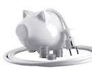 white piggy bank with a plug to indicate the power saving of miele products
