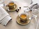 two cups of espresso made with the miele freestanding counter top coffee machine