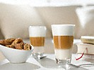 two cups of latte macchiato made with the miele freestanding countertop coffee machine CM 5500