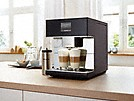 two cups of coffee in the miele freestanding countertop coffee machine