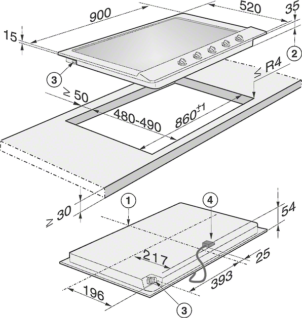 Installation drawings-in maximum width for the ultimate in cooking and user convenience.-