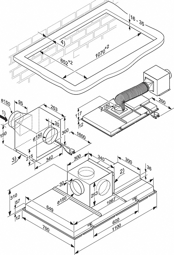 Installation drawings-for combination with an external fan for noise reduction in the kitchen.-