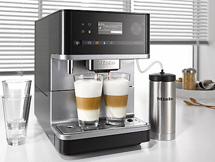 Miele Freestanding Countertop Coffee with two latte macchiatos