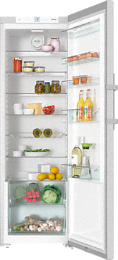 K 28202 D edt/cs - Freestanding refrigerator with Dynamic cooling and lever handle for convenient side-by-side combination.--Stainless steel/CleanSteel